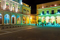 Famous square in Old Havana illuminated at night Royalty Free Stock Photo