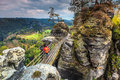 Famous stone formations near Bastei bridge in Germany, Saxon Switzerland Royalty Free Stock Photo