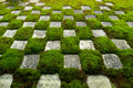 Famous stone and moss garden form a pattern of squares at the zen gardens of tofukuji in kyoto japan Royalty Free Stock Photos