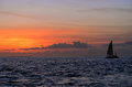 Famous sunset at key west fl with boat silhouette against the sun Stock Photo