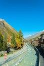 Famous swiss city zermatt in the valley near the swiss italian border center of alpine sports Royalty Free Stock Images