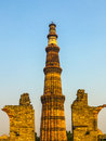 Famous tower of qutb minar in delhi india Stock Images