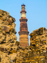 Famous tower of qutb minar in delhi india Royalty Free Stock Images