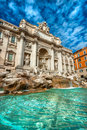 The famous trevi fountain rome italy wide angle view of Stock Photography