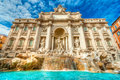 The famous trevi fountain rome italy wide angle view of Royalty Free Stock Photos