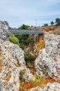 Famous truss bridge over Aradena Gorge, Crete Royalty Free Stock Photo