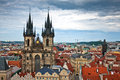 Famous Tyn Cathedral on Old Town square in Prague Royalty Free Stock Photography