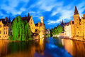 Famous view of bruges at night canal in world heritage site unesco Royalty Free Stock Photo