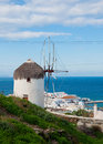 The famous windmill above the town of Mykonos Royalty Free Stock Photo