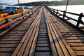 Famous wooden mon bridge this is bridg at kanchanaburi sangkhlaburi thailand Stock Image