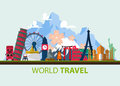 Famous world landmark icons in flat design. Royalty Free Stock Photo