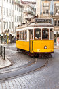 Famous yellow tramway of lisbon in portugal Stock Photos