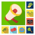 Fan and Attributes flat icons in set collection for design. Sports Fan vector symbol stock web illustration. Royalty Free Stock Photo