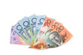 A Fan of Aussie dollars on  white backgrou Royalty Free Stock Photos