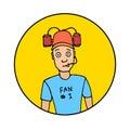 Fan with beer helmet Royalty Free Stock Photo
