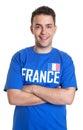 Fan de deportes de francia con los brazos cruzados Imágenes de archivo libres de regalías