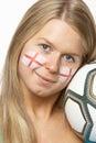 Fan de futebol fêmea com a bandeira do St Georges na face Imagens de Stock Royalty Free