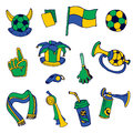 Fan elements soccer footall brazil hand drawn in Stock Image
