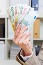 Fan with Euro money banknotes Royalty Free Stock Images