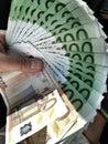Fan of euros Royalty Free Stock Photo