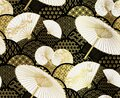 Fan flower unbrella vector japanese chinese seamless pattern design gold black Royalty Free Stock Photo