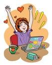 Fan girl expresses the feelings of joy Royalty Free Stock Photo
