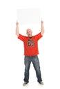 Fan guy holding up blank sign Immagine Stock Libera da Diritti