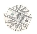 Fan of hundred dollar bills close up white background Royalty Free Stock Photography