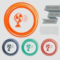 Fan icon on the red, blue, green, orange buttons for your website and design with space text. Royalty Free Stock Photo