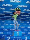 Fan kissing peter sagan female cycling a cut out of standing on the podium at the amgen tour of california in santa barbara Stock Photo