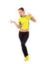 Fan signing victory for brazil attractive sportive girl with brazilian flag on her yellow t shirt isolated on white Royalty Free Stock Photography