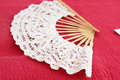 Fan tracery on a red background soft focus Royalty Free Stock Image