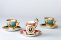 Fancy antique tea cup sets three of cups and saucers Stock Images