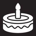 Fancy birthday cake icon, vector illustration.