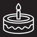 Fancy birthday cake line icon, white outline sign, vector illustration.