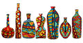 Fancy bottles set of multicolored with ethnic patterns fictional shapes various patterns design elements vector file is eps all Stock Photo