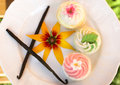 Fancy cakes with vanilla sticks and flower on white three plate Royalty Free Stock Image
