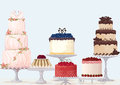 Fancy cakes vector collection over blue background Stock Photography