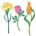Fancy Cartoon Flowers. Vector ...