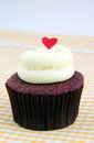 Fancy cupcake fanciful with cream cheese and heart Royalty Free Stock Images