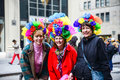 Fancy dressed ladies posing th avenue easter parade easter bonnet festival new york city Stock Image