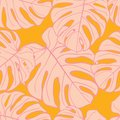 stock image of  Cute green tropical leaves seamless pattern design