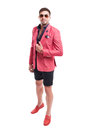 Fancy and funky male model wearing fashion concept Royalty Free Stock Photo