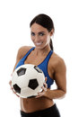 Fancy a game sexy woman wearing sports bra and short holding traditional football Stock Images