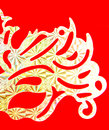 Fancy mask half of on red background Stock Image