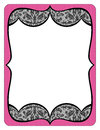 Fancy pink frame printout with black lace