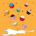 Fancy sketchy cupcakes background vector with colorful Royalty Free Stock Image