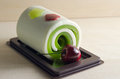 Fancy soap in cake form with cherry on the top Royalty Free Stock Photo