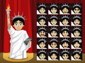 Fancy Statue of Liberty Costume Cartoon Emotion faces