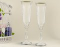 Fancy wedding goblets two glasses on tender background Royalty Free Stock Images
